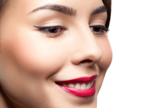 Closeup shot of woman face with day makeup